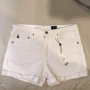 NWT AG white high rise denim Hailey shorts NEW